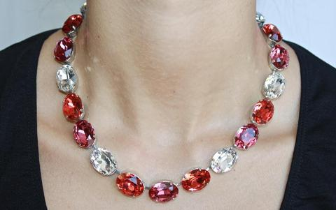 3 tone crystal necklace2