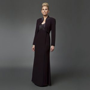 Daymor V- Neck Gown With Bolero