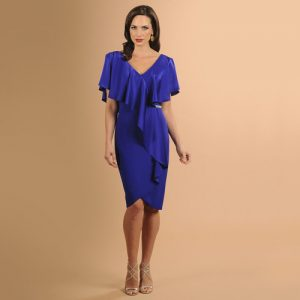 V-Neck Ruffle Cocktail Dress