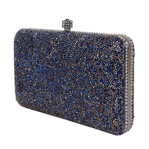 5024c72ff14e Jade Light Pewter Embellished Medium Leather Clutch Bag. Crystal Panel  Clutch Whiting Davis