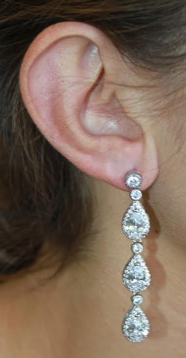 diamond dangle teardrop earring