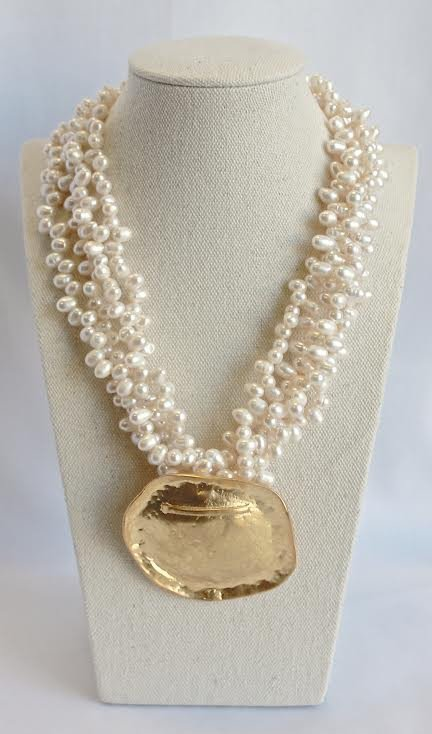Sea Lily Pearl With Disc Necklace