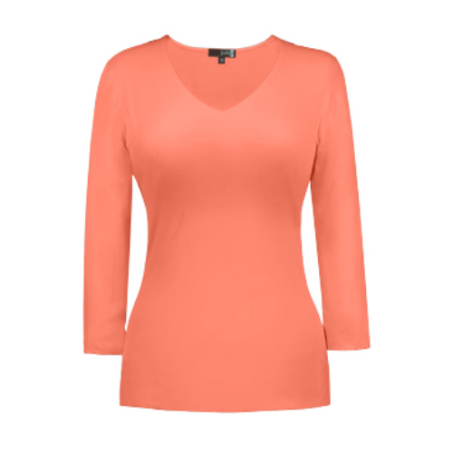 v neck 34 sleeve fusion coral