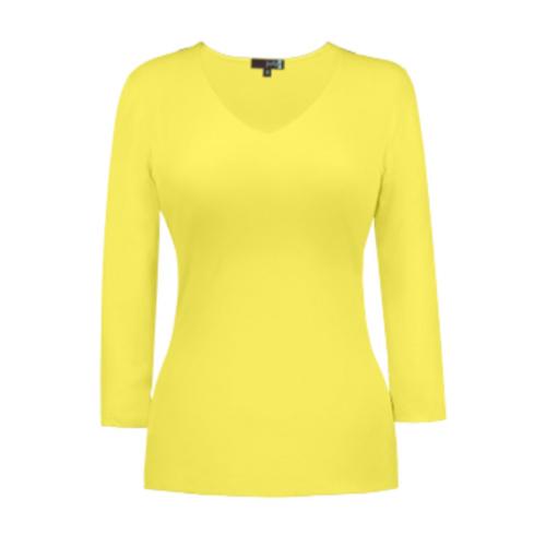 v neck 34 sleeve lemon merangue