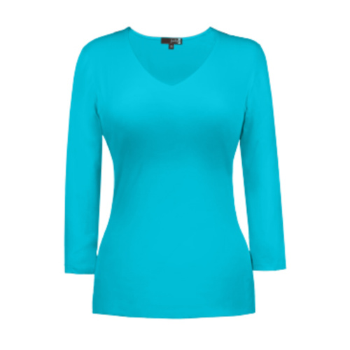 v neck 34 sleeve maui blue