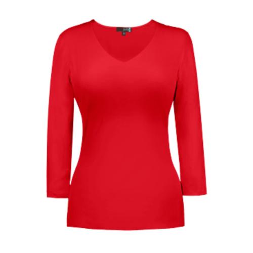 v neck 34 sleeve red