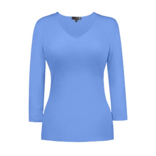v neck 34 sleeve vista blue