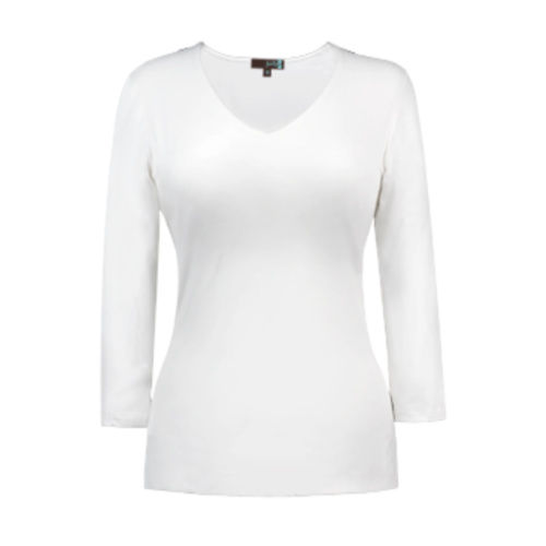 v neck 34 sleeve white