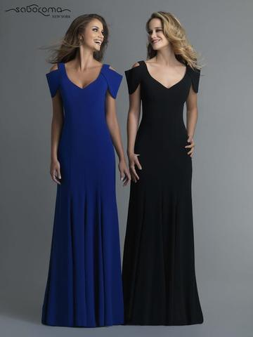 Saboromablue/black cold shoulder gown