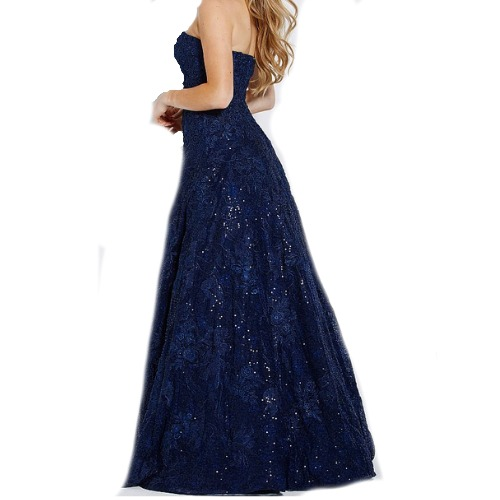 Jovani Navy Embroidered Strapless Ball Gown
