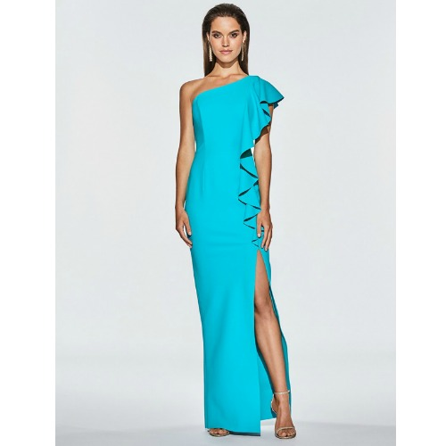 Frascara One Shoulder Ruffle Gown