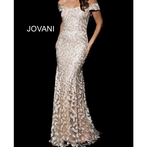 Jovani 49634 Off the Shoulder Mother of the Bride Dress by Jovani at Helen Ainson in Darien Ct