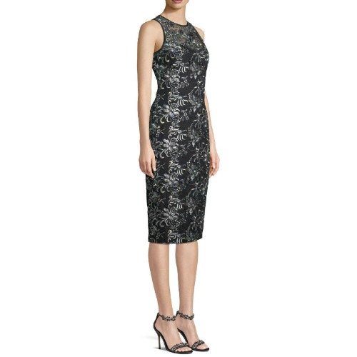 Theia Floral Illusion Dress