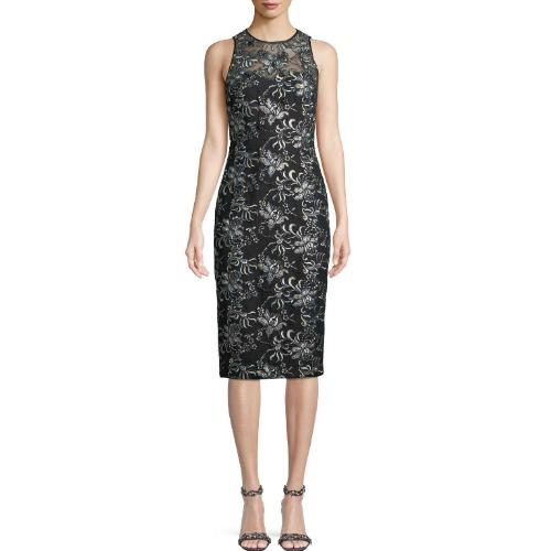Theia Floral Illusion Dress