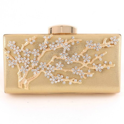 Gold evening bag with tree print and diamond studs