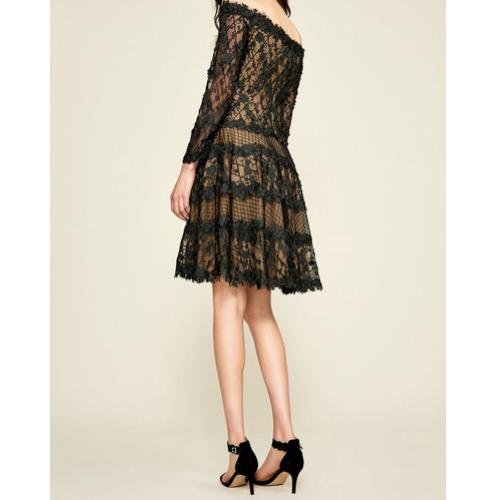 tadashi off the shoulder black/nude lace dress