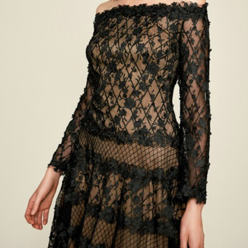 tadashi off the shoulder black/nude lace dress