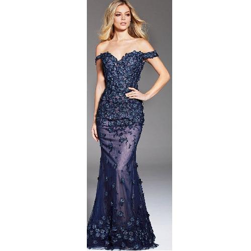 Embellished Off the Shoulder Gown