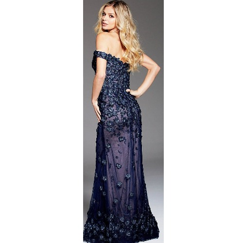 Embellished Off the Shoulder Gown