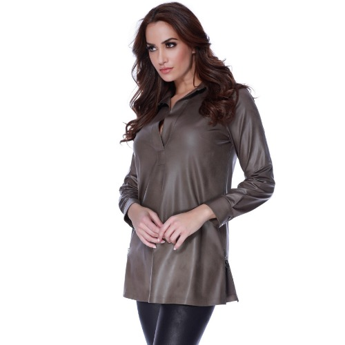 Faux Leather Collar Shirt