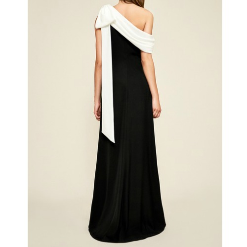 Bow-Shoulder Crepe Gown