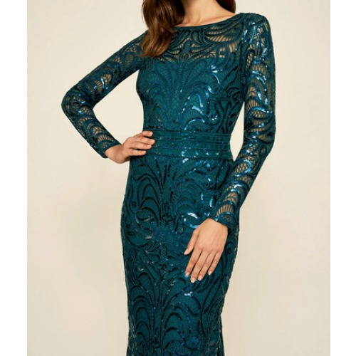 Teal Sequin Gown With Sleeves