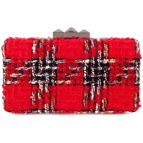 Textured Tweed Box Clutch