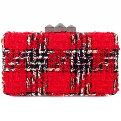Textured Tweed Box Clutch