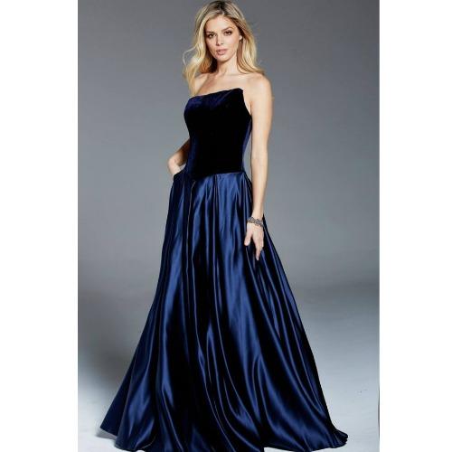 Jovani Strapless Velvet Gown