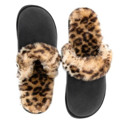 Leopard Faux Fur-Lined Black Slippers