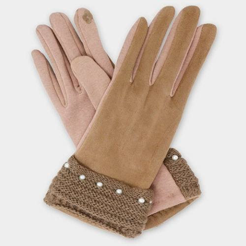 Pearl Detail Faux Suede Smart Gloves