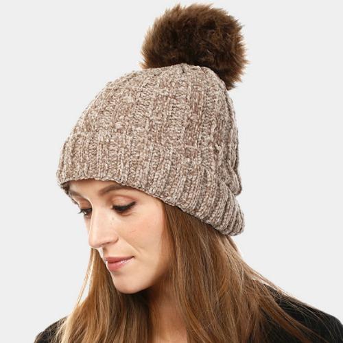 Chenille Pom Pom Hat