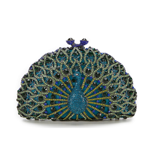 RHINESTONE PEACOCK CLUCH IN BLUE TONES