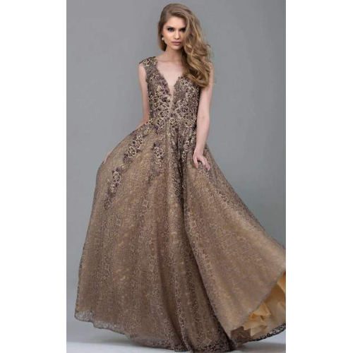 Jovani Floral Applique Taupe Ball Gown