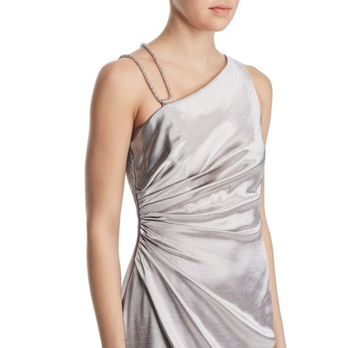 Aidan Mattox Draped One Shoulder Gown