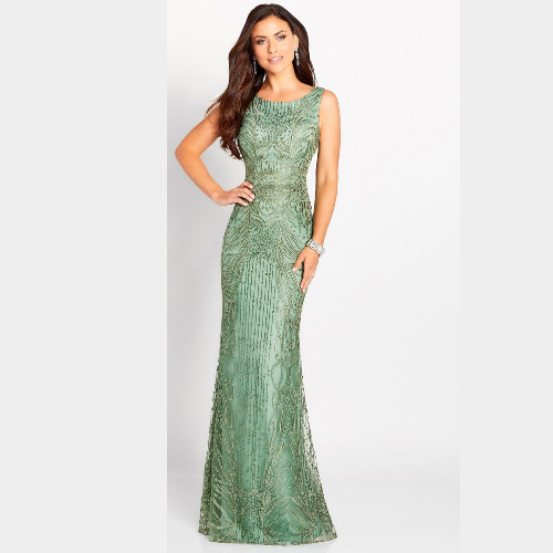 Cameron Blake Lace Sheath Gown