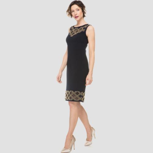 Joseph Ribkoff Black and Gold Illusion Dress