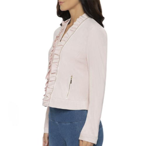 Lysse Ruffle Pale Pink Suede Jacket