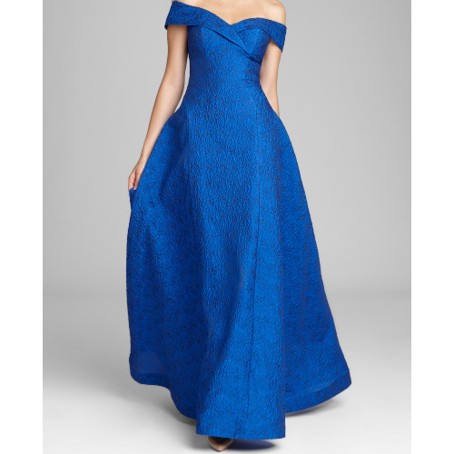 Teri Jon Off the Shoulder Jacquard Gown