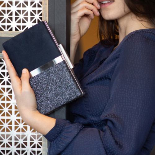 Suede and Sparkle Evening Bag