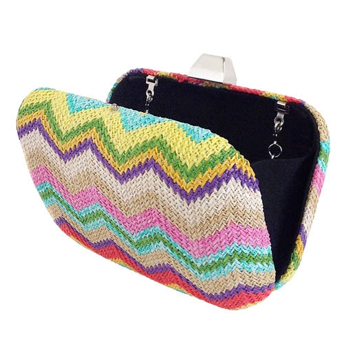 Multi-color Chevron Straw Box Clutch
