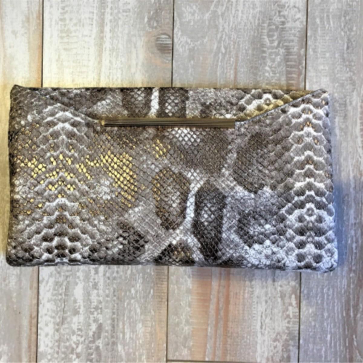 Sondra Roberts Snakeskin Leather Clutch