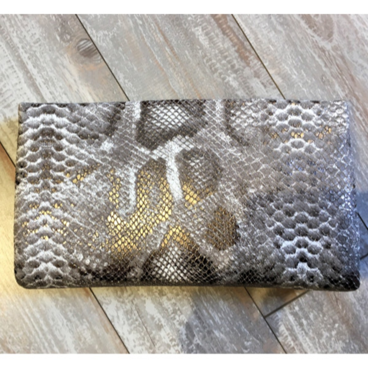 Sondra Roberts Snakeskin Leather Clutch
