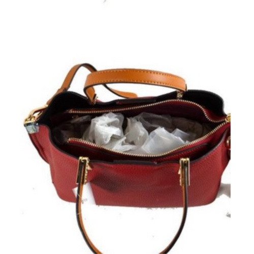 Faux Leather Handbag with Zip Closure