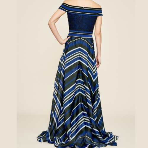 Tadashi Off-The-Shoulder Striped Organza Gown