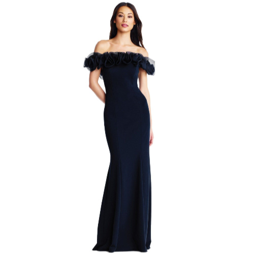 Aidan Mattox Navy Ruffled Off the Shoulder Gown