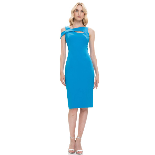 Theia Key Hole Crepe Cocktail Dress