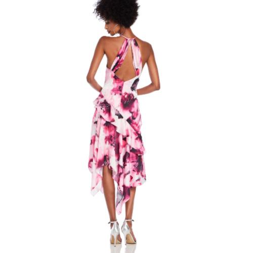 Theia Charmeuse Ruffle Cocktail Dress