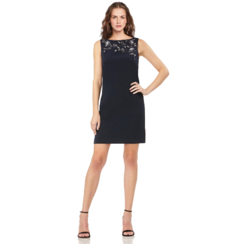 Theia Navy Crepe Shift Dress