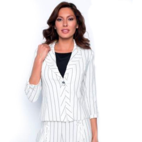 Frank Lyman Striped Button Blazer Jacket
